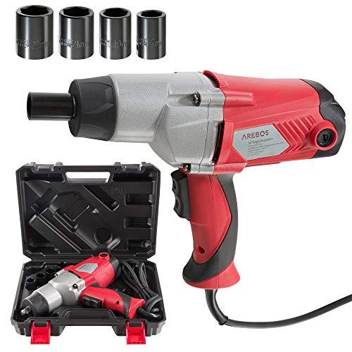 AREBOS – Atornillador de impacto eléctrico | 1010 W | 450 Nm | incluye maletín y 4 llaves de vaso | llave de impacto | herramientas electricas | atornillador de impacto