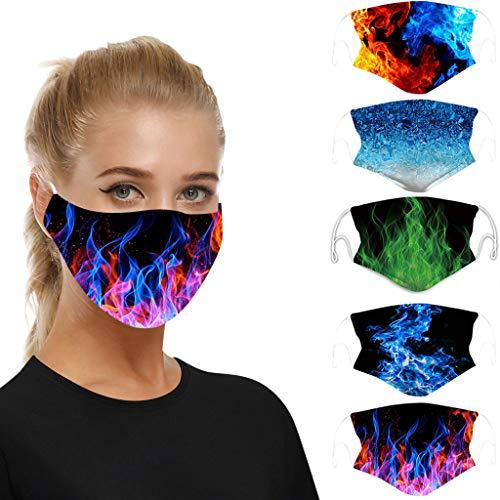 5 Stück Anti-Staub mundschutz waschbar mit Motiv, Atmungsaktiver Mundschutz Baumwolle wiederverwendbar mundschutz für Erwachsene zum Laufen, Radfahren