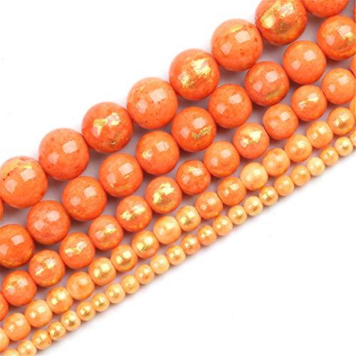16/6/8/10/12 MM Naranja Chapado en Oro Jade Beads Piedra Natural Piedra para joyería Hacer Bricolaje Pulsera Pendientes Accesorios 15 Pulgadas 12mm About 30pcs