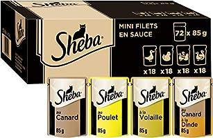 Sheba Mini Filets en sauce pour chat adulte – Nourriture humide pour chats - sélection à la volaille – Sachets fraîcheur...