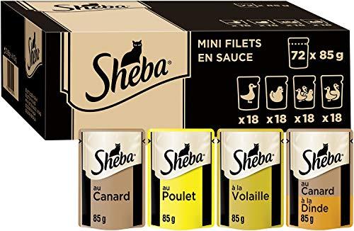 Sheba Mini Filets en sauce pour chat adulte – Nourriture humide pour chats - sélection à la volaille – Sachets fraîcheur 72 x 85g
