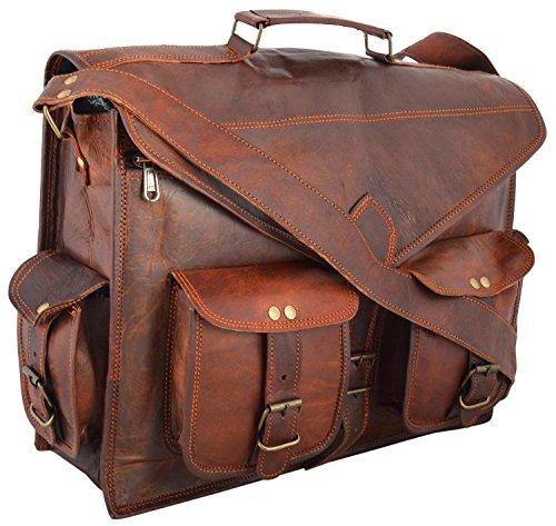 Leather Art & Craft Fertigkeit 18 Zoll Jahrgang Handgefertigte Ledertragetasche für Laptoptasche Umhängetasche