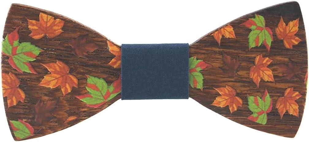Wooden Bow Tie for Men Pretied Maple Leaf Printed with Adjustable Belt
