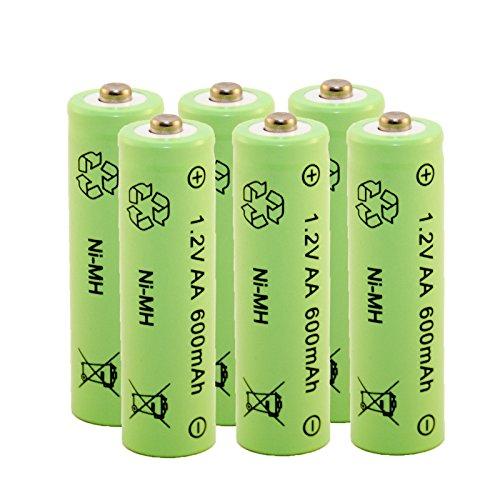 Akku aufladbare Batterie Ni-MH NiMH AA Mignon 1,2 Volt 600mAh Solar 6 STÜCK