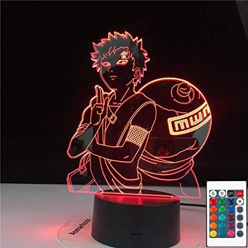 3D-Illusionslampe Led-Nachtlicht Naruto Gaara Kinder Anime Japanische Manga-Batterie Baby-Schlaftischlampe Beste Geburtstags-Weihnachtsgeschenke Für Kinder