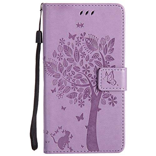 ISAKEN Compatibile con Samsung Galaxy Note 3 Custodia, Libro Flip Cover Portafoglio Wallet Case Albero Design in Pelle PU Protezione Caso con Supporto di Stand/Carte Slot/Chiusura - Viola Chiaro