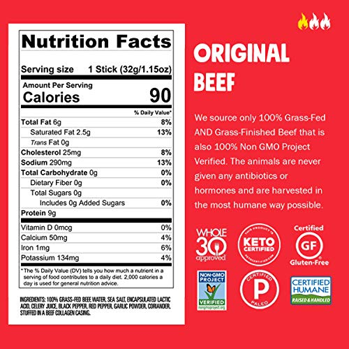 CHOMPS Grass Fed Beef Jerky Meat Snack Sticks   Keto Certified, Whole30 Approved, Paleo, Low Carb, High Protein, Gluten Free, Sugar Free, Non-GMO   100 Calorie 1.15 Oz Stick, Original Beef 10 Pack