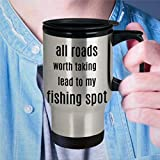 Fishing Travel Mug Fishing Present For Men Fishing Mugs Eat Sleep Fish Repeat Present For Fishermen for Fishin Husband Boyfriend 15oz Coffee Mug Tea Cup Holiday Present