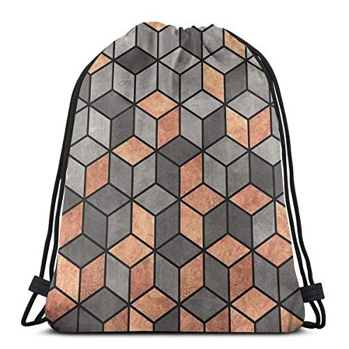 N / A Unisex Drawstring Bags,Concrete And Copper Cubes Waterproof Foldable Sport Sackpack Gym Bag Sack Drawstring Backpack