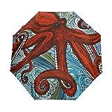 Ombrello 3 pieghe personalizza Octopu Ocean Wave Anti-UV Auto Open Close antivento leggero