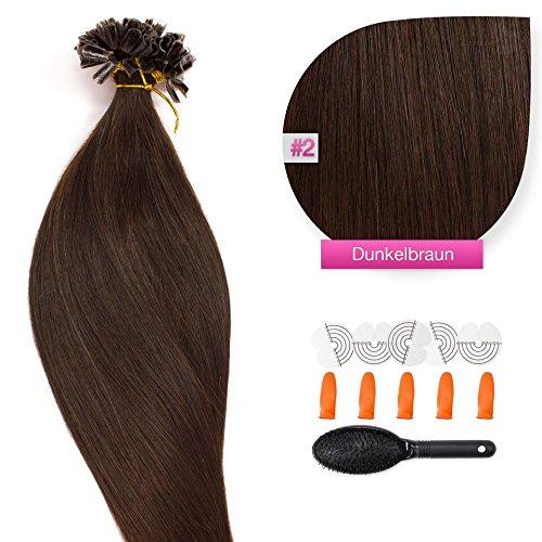 150 x 1,0g glatte indische Remy 100% Echthaar-Strähnen/U-tip/Extensions/Haarverlängerung mit Keratinbondings 50 cm #02 Dunkelbraun - dark brown