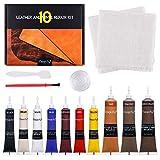Magicfly Kit di Riparazione per Pelle e Vinile 10 Colori per Riparare, Ritoccare e Restaurare Graffi, Macchie e Crepe, Kit di Riparazione della Pelle per Divano, Giacca, Seggiolino Auto