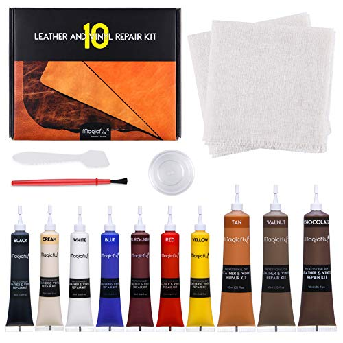 Magicfly Flüssigleder, Vinyl und Leder Kunstleder Reparatur Set 10 Farben für Sofa, Autositz, Möbel, Jacke, Bootssitz, Material wiederherstellen