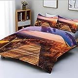 Juego de funda nórdica, puesta de sol con nubes en el puente del parque natural Cabo de Gata Níjar, camino con vallas Juego de cama decorativo de 3 piezas con 2 fundas de almohada, multicolor, el mejo