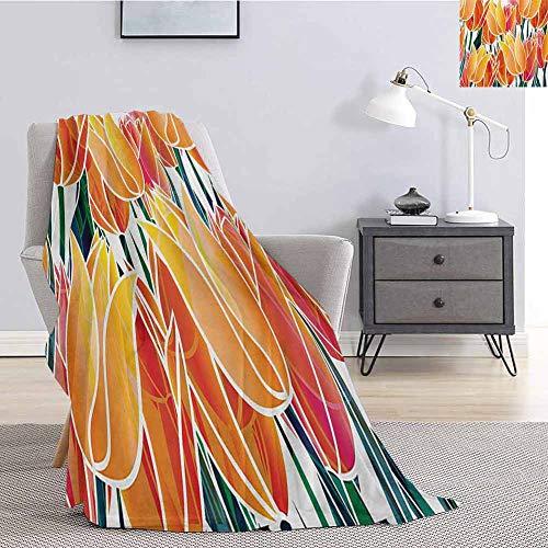 Luoiaax Tulip Commercial Grade Printed Blanket Exquisite Flourishing Tulip Garden with Vivid Colored Endless Petals Eco Illustration Queen King W60 x L70 Inch Orange