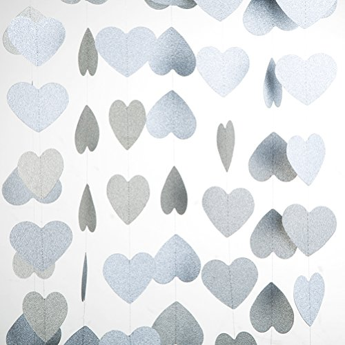 MOWO Heart Paper Garland Silver Glitter Circle Decoration 2pc 20 feet in Total