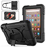 Fire HD 8 Case 2020 with Pen Holder | AVAKOT Kindle Fire HD 8/HD 8 Plus Case with Hand Strap Shoulder Strap | Heavy Duty Shockproof Cover W/Swivel Stand for Amazon Fire HD 8 10th Generation | Black