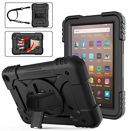 Fire HD 8 Case 2020 with Pen Holder   AVAKOT Kindle Fire HD 8/HD 8 Plus Case with Hand Strap Shoulder Strap   Heavy Duty Shockproof Cover W/Swivel Stand for Amazon Fire HD 8 10th Generation   Black