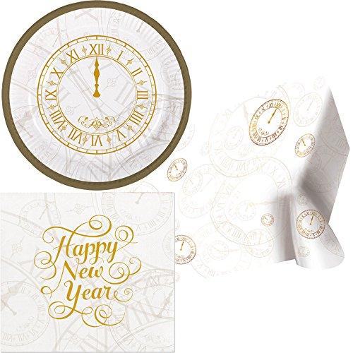 25-delige partyset * Happy New Year * voor oudejaarsavond met borden + servetten + tafelkleed // goud zilver zwart Vrolijk jaar horloge vijf voor 12 party decoratie