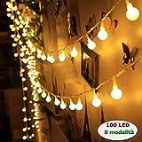 Innoo Tech è il Marchio Più Popolare in Luci Stringa -- 10m 100 Led bulbi lucine con cavo piombo di 1,5m sono perfette per la celebrazione all'interno Illuminazione Eccellente -- Con la spina femmina e maschio. 100 led bulbi bianchi caldi creano l'il...