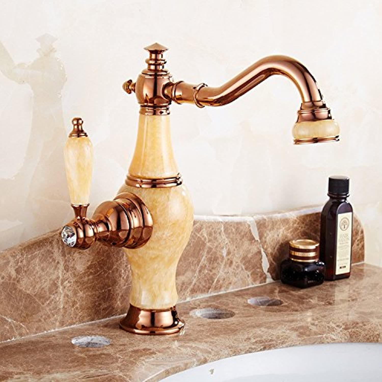 Hlluya Professional Sink Mixer Tap Kitchen Faucet The gold-copper jade hot and cold water basin mixer