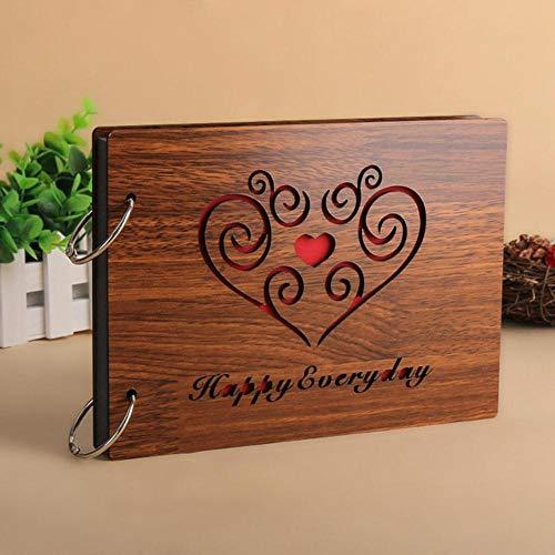 EDCV DIY Wedding Memorial fotoalbum 8 Inch houten kaft albums handgemaakte losbladige geplakt fotoalbum, H