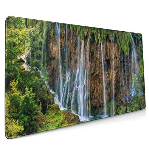 Kroatië Parken Watervallen Crag Plitvice Nationaal Park Mouse Pad Niet Slip Rubber Grote Gaming Keyboard Mat 15.8x35.5 In