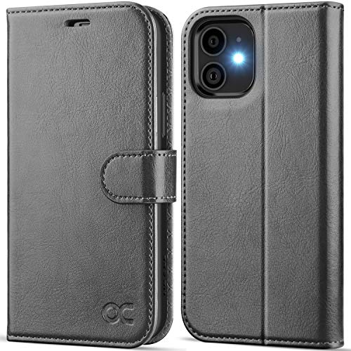 OCASE Compatible with iPhone 12 Case/Compatible with iPhone 12 Pro Wallet Case, PU Leather Flip Case with Card Holders RFID Blocking Kickstand Phone Cover 6.1 Inch (Gray)