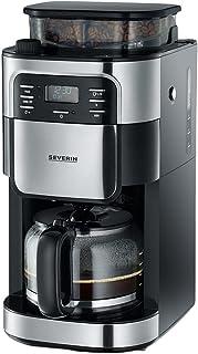 SEVERIN Cafetière Programmable Avec Broyeur, 1 000W, Jusqu'à 10 tasses, Degré de Mouture et Arôme Réglables, Inox/Noir, KA...
