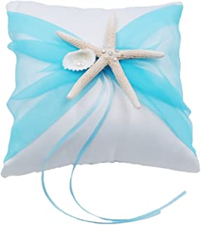 Abbie Home Organza Bowknot Wedding Ring Pillow Romantic Beach Wedding Party Favor (Tiffany Blue Pillow)
