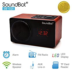 SoundBot SB1025 Alarm Clock FM Radio Bluetooth Wireless Portable Speaker w/Acoustic 76mm Premium 7w Driver, 6Hrs Music Streaming, Built-in Battery, 3.5mm Aux Port LED Display