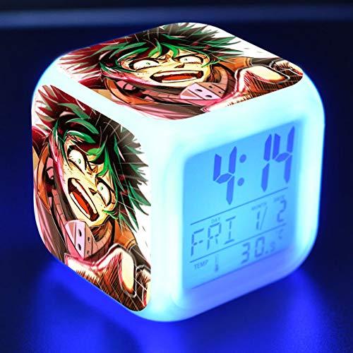 shiyueNB Boku No Hero Academia wekker LED-licht 7 kleurwisselende LED-display klok vierkante tafelklok digitale zaden