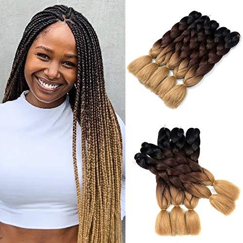 Ombre Jumbo Braiding Hair Three Tone Kanekalon Jumbo Braids Synthetic Ombre Braiding Hair Extensions 5Pcs/Lot 24inch (Black/Brown/Light Brown)