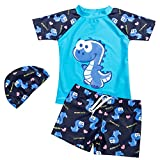 YAGATA Baby Junge Badeanzug, Zweiteilig Badebekleidung mit Dinosaurier-Motiv, Surfen Taucheranzug...