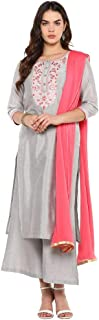 STOP Womens Round Neck Embroidered Palazzo Suit
