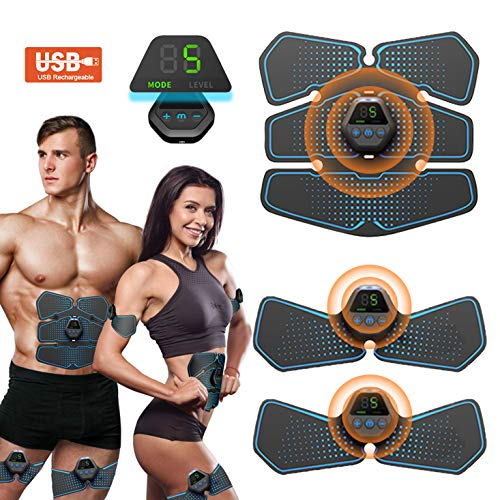 Bauchmuskeltrainer EMS Trainingsgerät Muskelstimulation Muskelstimulator Bauchmuskeln Toner USB Wiederaufladbar & LCD Bildschirm Trainingsgeräte Maschine für Männer & Frauen 10 Modi 20 Intensitä