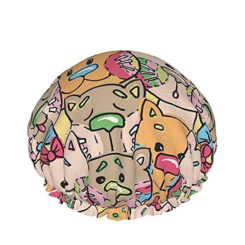 Hermosa Colección De Cats Gorro De Ducha Para Las Mujeres De Pelo Largo De La Prenda Impermeable De Lujo Reutilizables Sueño Salón De Spa Bonnet-Hermosa Colección De Gatos