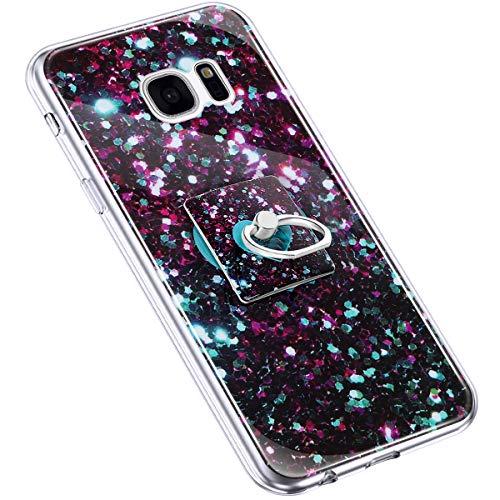 Uposao Kompatibel mit Samsung Galaxy S7 Edge Handyhülle Marmor Muster mit Ring Halter Ständer Ultradünn TPU Silikon Hülle Schutzhülle Durchsichtig Bumper Stoßfest Hülle Backcover,Liebe Grün