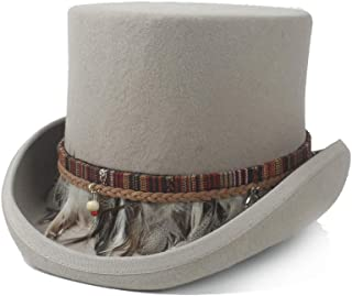 XueQing Pan Steampunk Top Hat 100% Wool Womw Men Crazy Hat Color Braided Feather Tassel Gentleman Hat Traditional Flat Top Hat