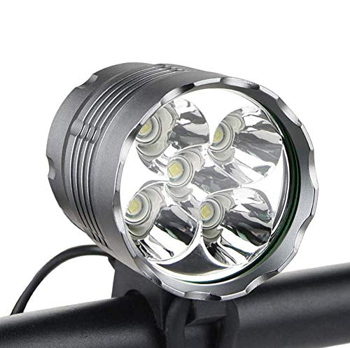 WasaFire Bike Light,6000 Lumens 5 LED Bicycle Light,Waterproof Mountain Bicycle Front Light with 8400mAh Rechargeable Battery Pack,3 Modes Bike Front Headlamp for Cycling Safet