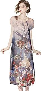 تنورة شيونغسام طويلة قابلة للتعديل من HangErFeng Qipao مصنوعة من الحرير الحقيقي مطبوع عليها عنصر صيني قصير الأكمام نمط فضفاض