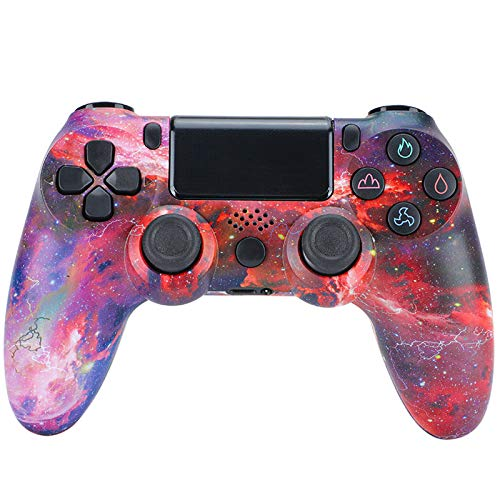 CNMLGB Wireless Controller für PS4 Slim/PS4 Pro,USB Controller für PC,Bluetooth Gamepad mit Dual-Vibration Audiofunktionen Playstation Controller Joystick - Sternenhimmel Rot,H1