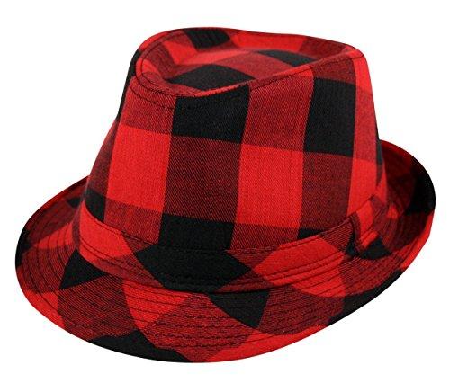Itzu Homme Style bûcheron Chapeau Taille 56 cm, Rouge et Noir