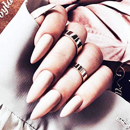 Fairvir 24 Pcs Brillant Faux Ongles Astuce Couverture Complète Acrylique Faux Ongles Punk Mode Clip Sur Les Ongles pour Femmes et Filles (Rose Nude)