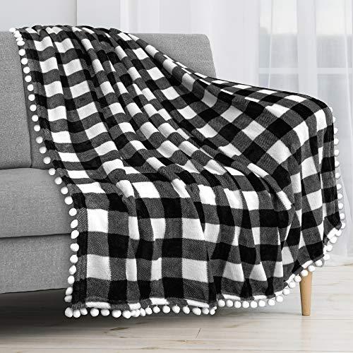 PAVILIA Pom Pom Blanket Throw, Buffalo Plaid White Black Check | Soft Fleece Pompom Fringe Blanket for Couch Bed Sofa | Decorative Farmhouse Cozy Plush Warm Flannel Velvet Tassel Throw Blanket, 50x60