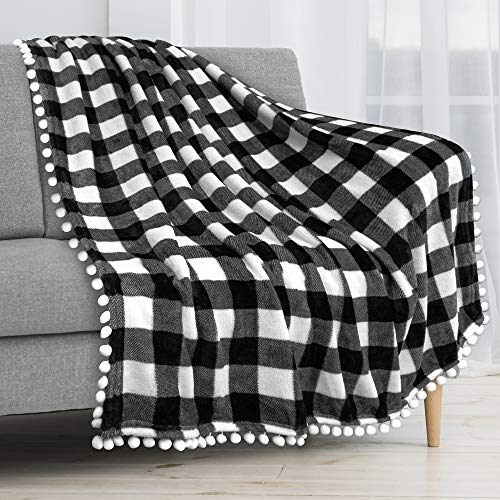 PAVILIA Fleece Throw Blanket with Pom Pom Fringe | Buffalo Plaid Checkered White, Black Flannel Throw | Super Soft Lightweight Microfiber Polyester | Plush, Fuzzy, Cozy | 50 x 60 Inches