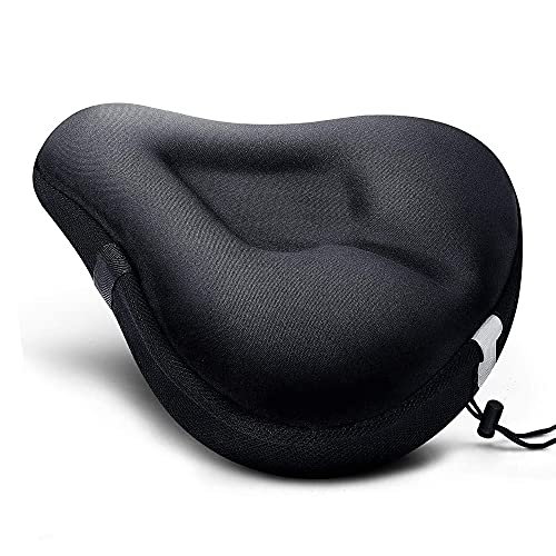 Bike Seat Cushion, Wide Gel Soft Pad Exercise Bike Seat Cover Extra Mountain Bike Seat and Road Bike Saddle for Women Men, Fits Spin, Stationary, Cruiser Bikes, Indoor Cycling