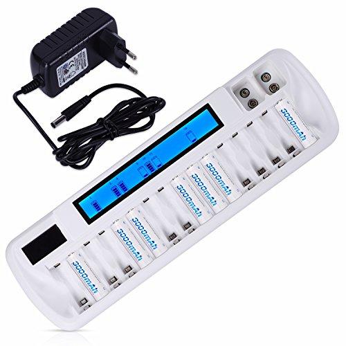 Oferta de Cargador de Pilas AA/AAA Ni-MH Ni-CD y 9V Ni-MH Li-Ion Cargador de batería Recargable,con LCD Inteligente y 18 Ranuras Recargue Mixto o Individual,Certificación de Seguridad: UL, CE, GS, BS