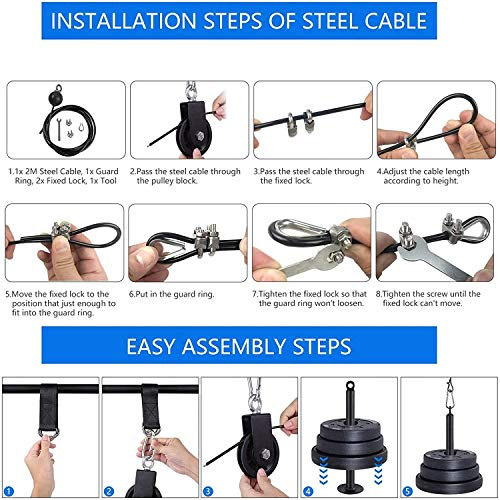 CELLTEK Cable Pulley System, LAT Pull Down Pulley System Gym Fitness DIY Loading Pin Weight Lifting Triceps Rope Workout Adjustable Length Pulley Cable Attachments for Home Gym
