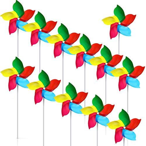 Woohome 50 Stück Windmühle Kinder, DIY Windmühle Spielzeug Windräder Garten Windspiel für Party, Kinder Rainbow Pinwheel Garten Rasen Dekoration Windspiele Foto Requisiten